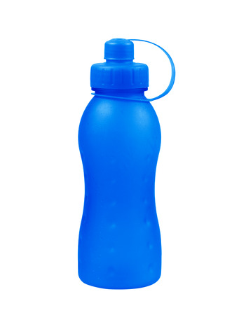 plastic blue bottle on white background.