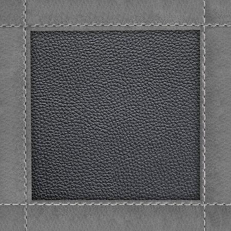 Photo pour Leather frame of stitched leather texture background  - image libre de droit