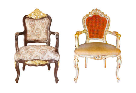 Foto de Old style vintage armchair or wooden chair isolated on white background with clipping path included - Imagen libre de derechos