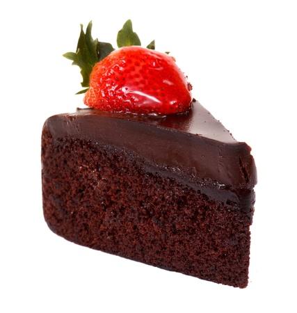 Dark chocolate strawberry cake isolated on white background