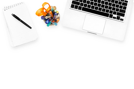 Photo pour Workspace computer notebook and stationary isolated on white background - image libre de droit