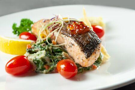 Tasty friend salmon, Grilled Salmon Steak with Spinach