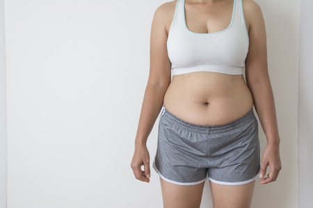women fat with belly fat on white background