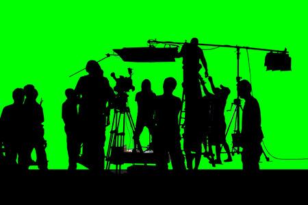 Foto de A shot of green screen working group of production. - Imagen libre de derechos