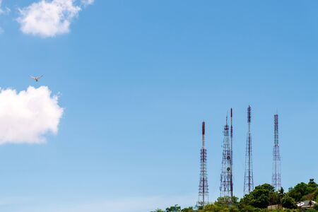 Photo for Telecommunication tower antenna and satellite dish on mountain - Royalty Free Image