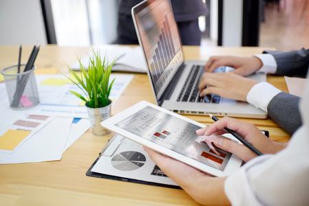 Foto de Startup business concept,Young businessman meeting or brainstorming to start new business. - Imagen libre de derechos