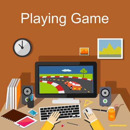 Playing game Illustration. Flat design.