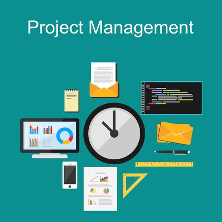 Illustration pour Project management illustration. Flat design. - image libre de droit