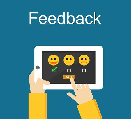 Illustration pour Feedback illustration. Flat design. Feedback or Rating system on phone screen. Giving feedback concept. - image libre de droit