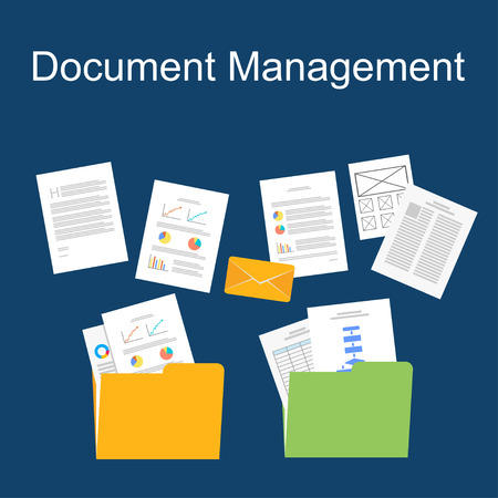 flat design of documents management.