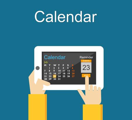 Calendar application on mobile phone. Reminder concept. Add agenda on calendar application.