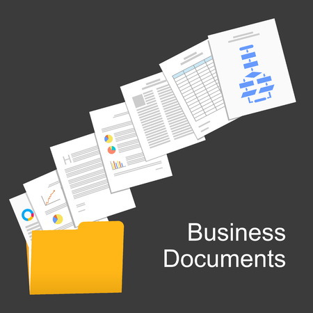 Illustration pour Flat design illustration for business documents, business report, business documents, working, management. - image libre de droit