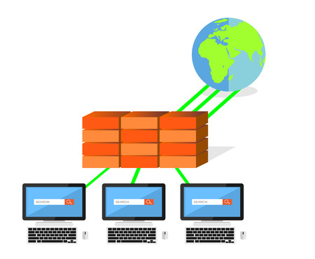 Network security firewall concept. IT background.