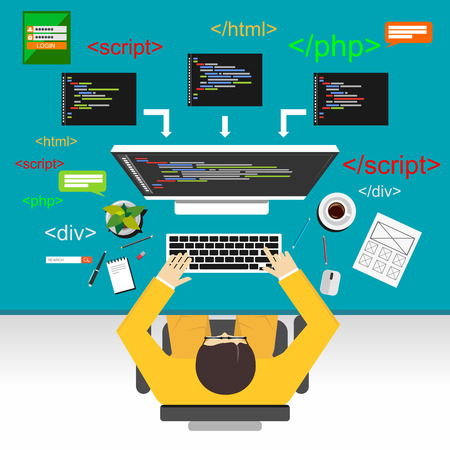 Illustration pour Web development illustration. Flat design.Flat design illustration concepts for analysis, working, brainstorming, coding, programmer, and teamwork. - image libre de droit