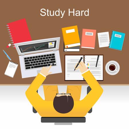 Illustration pour Study hard concept illustration. Flat design illustration concepts for study hard, working, research, analysis, management, career, brainstorming, finance, working. - image libre de droit
