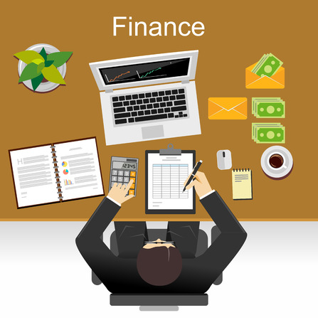 Finance illustration. Flat design illustration concepts for business, planning, management, finance, accounting, business statistics, working, investment.
