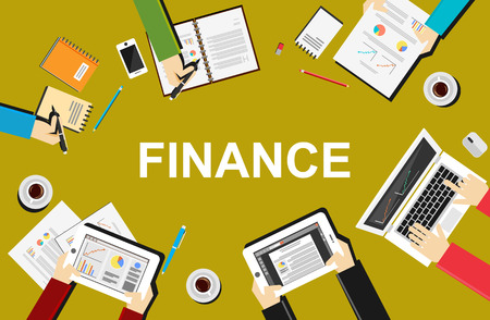 Finance illustration. Flat design illustration concepts for business, planning, management, finance, accounting, business statistics, working, investment, or teamwork.