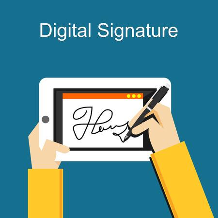 Illustration pour Digital signature on tablet - image libre de droit