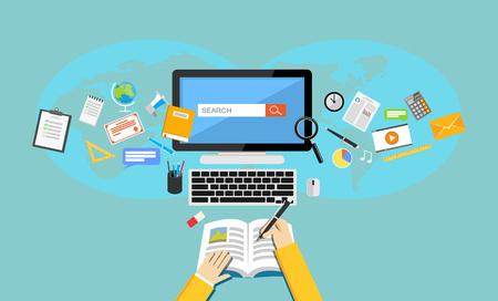 Illustration pour Studying. Flat design illustration of online education or e-learning. - image libre de droit