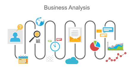 Illustration for Business analysis process concept illustration. - Royalty Free Image