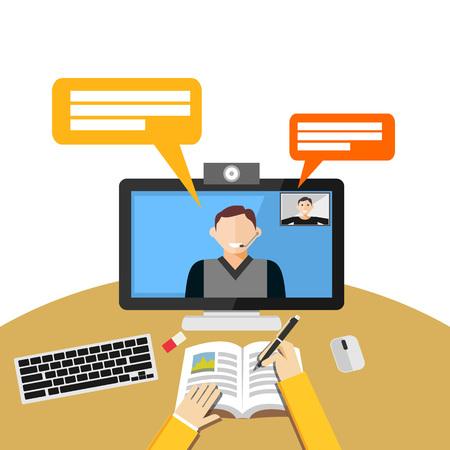 Illustration pour Video call or conference on computer. Web binar or web tutorial concept. - image libre de droit