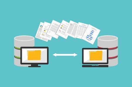 Illustration pour Transfer files. Sharing files. Backup files. Migration concept. Communication between two computers. - image libre de droit