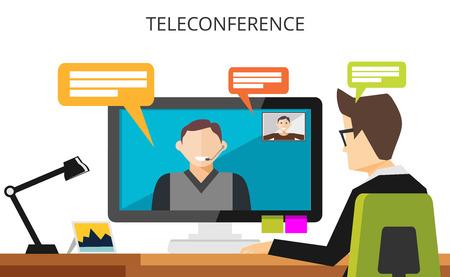 Illustration pour Teleconference concept. Video communication technology illustration. Video call. Businessman having teleconference. - image libre de droit