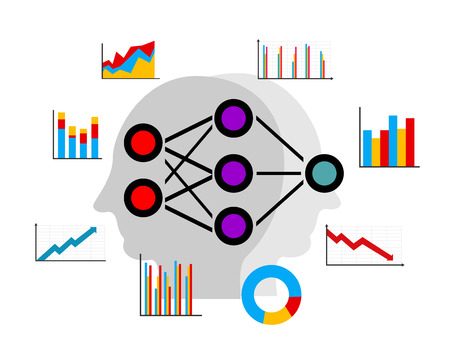 Illustration pour Artificial neural network, deep learning, data mining for predicting pattern - image libre de droit