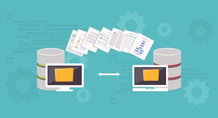 Illustration for Data Migration.Data management. Transfer file concept. - Royalty Free Image