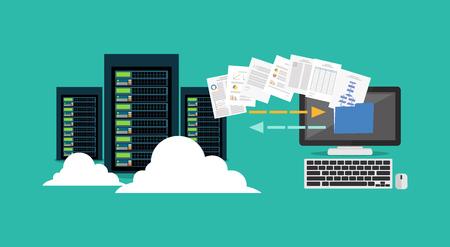 Illustration for Migration. Backup concept. Copying file. Server. Data Center. Database synchronize technology. - Royalty Free Image