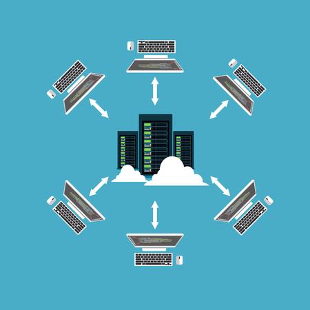 Ilustración de Distributed system. Client and server communication. File sharing or networking concept. - Imagen libre de derechos