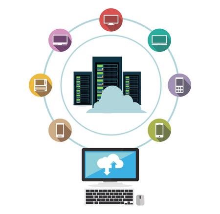 Illustration pour Data center. Cloud storage. Data sharing. Data download or upload concept. - image libre de droit