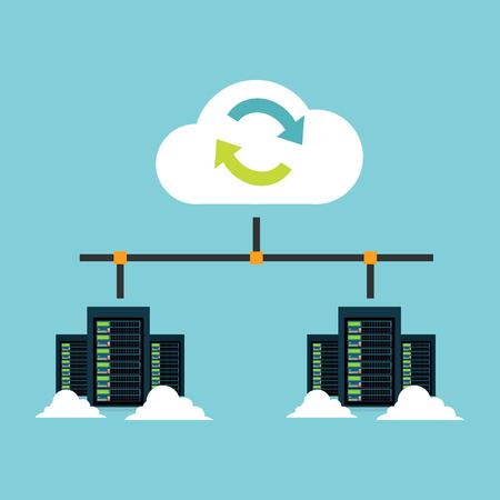 Illustration pour Cloud storage. Data center integration. Synchronize server. Backup. File Sharing concept. - image libre de droit
