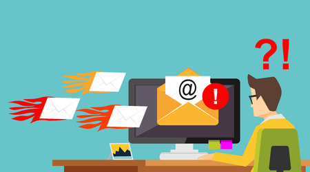 Illustration pour Email Spamming Attack. Spam email. Receive many emails concept. - image libre de droit