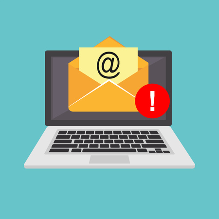 Email spamming attack. Email fraud alert concept.