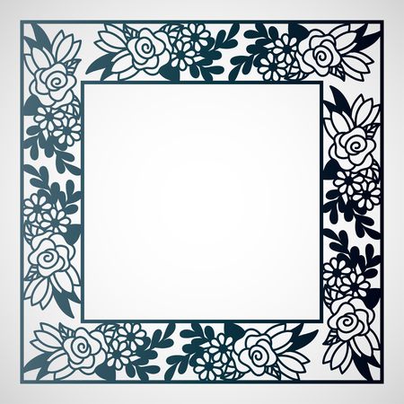 Illustration for Openwork square frame with floral pattern. Laser cutting template for greeting cards, envelopes, wedding invitations. - Royalty Free Image