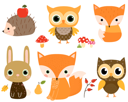 Cute vector set with woodland animals in flat style for children designs and greeting cards