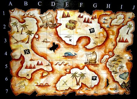 hand painted treasure map i designed for kids play group