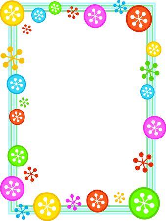 colourful festive retro snowflake frame border design