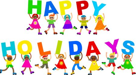 Photo pour A group of cute and diverse children holding up letters to form the greeting HAPPY HOLIDAYS. - image libre de droit