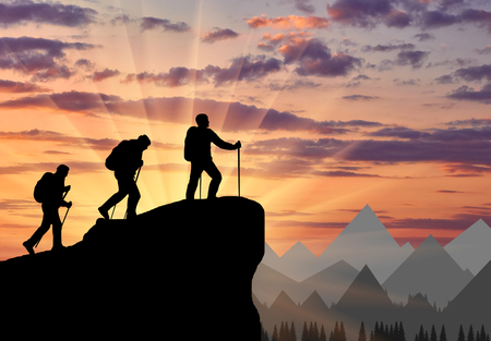 Silhouette climbers ascending to top of mountain. Concept teamwork