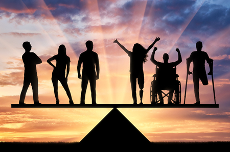 Photo for Invalids equal in rights in the balance with healthy people. Concept of social equality of disabled people in society - Royalty Free Image