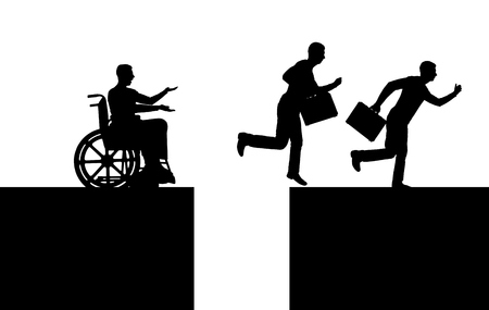 Ilustración de Silhouette vector of a disabled worker in a wheelchair stopped before an abyss and healthy workers jump over the abyss and run on. The concept of inequality of people with disabilities - Imagen libre de derechos