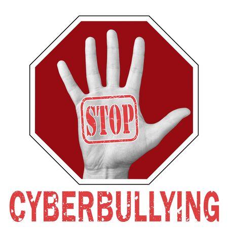Foto de Stop cyberbullying conceptual illustration. Open hand with the text stop cyberbullying. Global social problem - Imagen libre de derechos