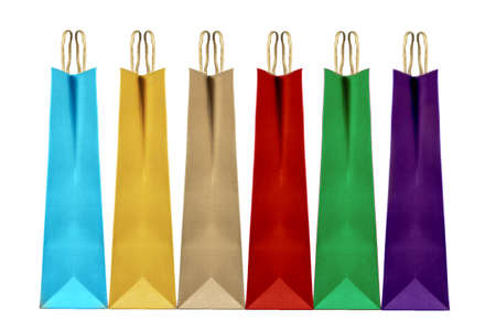 Photo pour Colorful paper shopping bags isolated on white, clipping path included. - image libre de droit