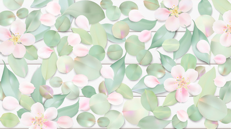 Illustration pour White pastel watercolor background. Soft green color leaves and pink flowers on table illustration template - image libre de droit