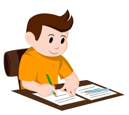 Illustration pour child write - image libre de droit