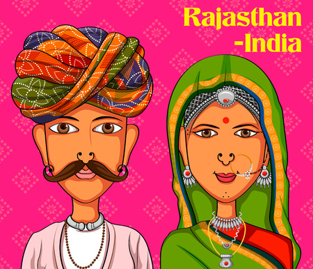 Illustration pour Vector design of Rajasthani Couple in traditional costume of Rajasthan, India - image libre de droit