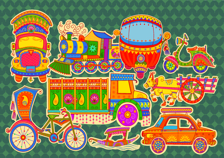 Illustration pour Vector design of transportation of India in Indian art style - image libre de droit