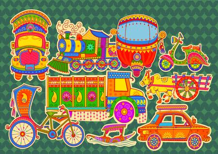 Ilustración de Vector design of transportation of India in Indian art style - Imagen libre de derechos